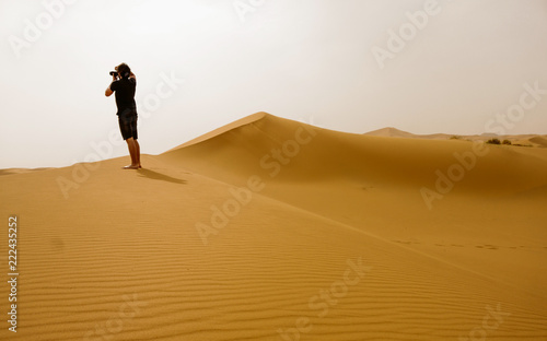 The desert of Morocco. Panoramic landscape of Sahara desert - 222435252