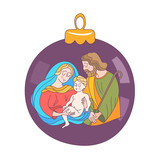 Merry Christmas. Vector greeting card. Virgin Mary, baby Jesus and Saint Joseph the betrothed. - 222437424