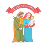 Merry Christmas. Vector greeting card. Virgin Mary, baby Jesus and Saint Joseph the betrothed. - 222437484