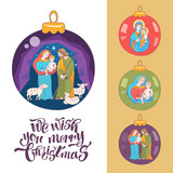 Merry Christmas. Vector greeting card. Virgin Mary, baby Jesus and Saint Joseph the betrothed. - 222437497