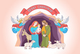 Merry Christmas. Vector greeting card. Virgin Mary, baby Jesus and Saint Joseph the betrothed. - 222437640