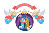 Merry Christmas. Vector greeting card. Virgin Mary, baby Jesus and Saint Joseph the betrothed. - 222437684