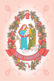 Merry Christmas. Vector greeting card. Virgin Mary, baby Jesus and Saint Joseph the betrothed. - 222437844
