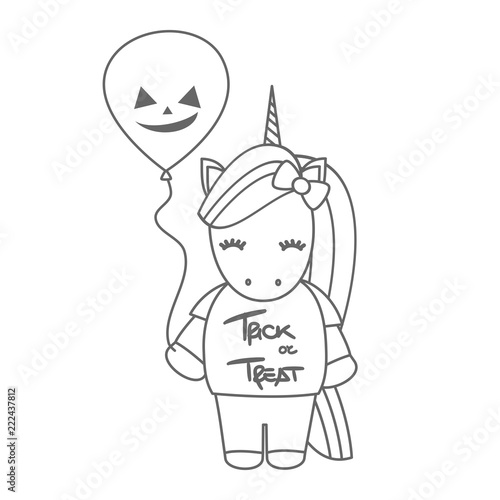 cute cartoon black and white halloween vector illustration with unicorn and pumpkin balloon