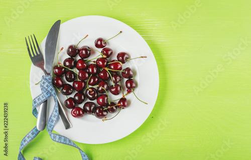 Foto Murales Cherries in a plate