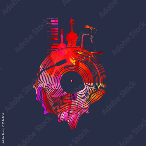 Music background with colorful vinyl record and music instruments vector illustration. Artistic music festival poster, live concert, creative design with lp record © abstract