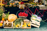 Farm street market in city of Rome. Vegetables, fruits, organic products in the center of Roma. Saturday special sale.
