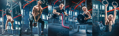 Collage about men with battle rope and woman in the fitness gym. The gym, sport, rope, training, athlete, workout, exercises concept © master1305