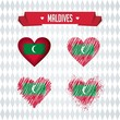 Maldives. Collection of four vector hearts with flag. Heart silhouette