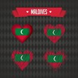 Maldives heart with flag inside. Grunge vector graphic symbols