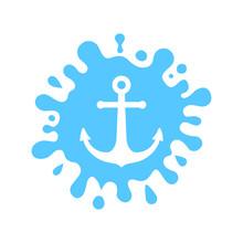 Symbol Anchor In The Splatter Sea Water Logo  Blue Splash Water    Element For Design  Illustration Sticker