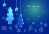 three-dimensional Christmas trees and stars hanging on a thread blue background with snowflakes - 222457436