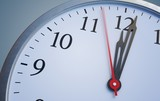 Deadline and time concept. Close up view on clock showing twelve hours. 3D rendered illustration. - 222460017