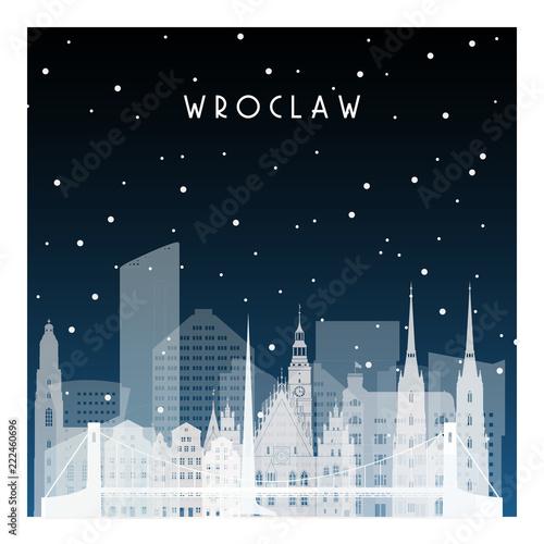 Zimowa noc we Wrocławiu. Nocy miasto w mieszkanie stylu dla sztandaru, plakat, ilustracja, tło.