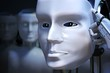 Robot head in front of many others. 3D rendered illustration.