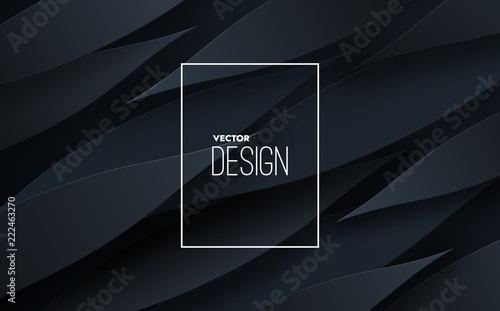 Abstract 3d background with black paper layers. Vector geometric illustration of carbon sliced shapes. Graphic design element. Minimal design. Decoration for business presentation. Textured cover