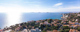 Marseille city panoramic aerial view of Corniche Kennedy and the seacoast