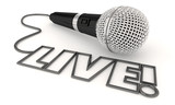 Live Report Update Interview Microphone Word 3d Illustration - 222467082