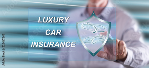 Poster Man touching a luxury car insurance concept
