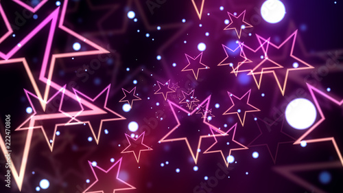 Poster Glowing stars and glittering particles for celebration and parties and events.