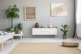 Wicker footrest placed on big carpet on the floor in real photo of light grey living room interior with fresh green plants, two modern posters and white cupboard