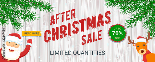 Poster Christmas sale banner. Santa Claus and reindeer. Vector illustration