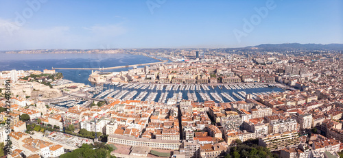 Marseille France, Aerial Panoramic view of the Vieux Port - 222475890