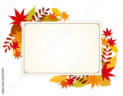 秋の紅葉とメッセージカード