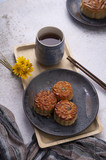 Festival mooncake with tea for the Chinese - 222479422