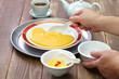 homemade chinese dessert, sweet non sticking egg yolk custard called san bu nian