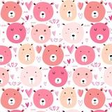 Cute bear pattern background. Vector illustration.