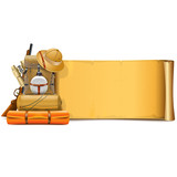 Vector Old Paper Scroll with Safari Accessories - 222488022