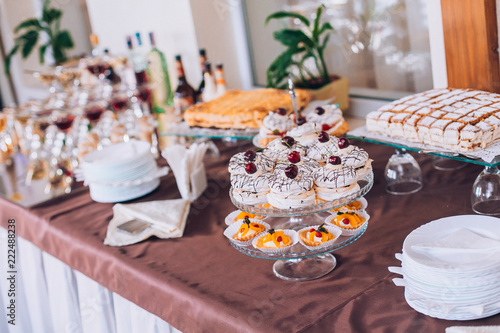 Delicious wedding reception candy bar dessert table. A lot of ...