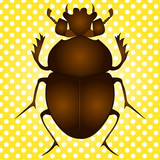 Pop art raster. Egyptian Scarab beetle. Brown color on vintage background