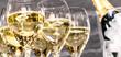 Leinwandbild Motiv Champagner Glässer mit Flaschenkühler
