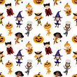 Seamless background with children in costumes for halloween on white background.