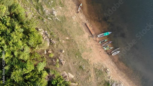 Poster 4K Drone shot aerial view scenic landscape of river reservoir beach