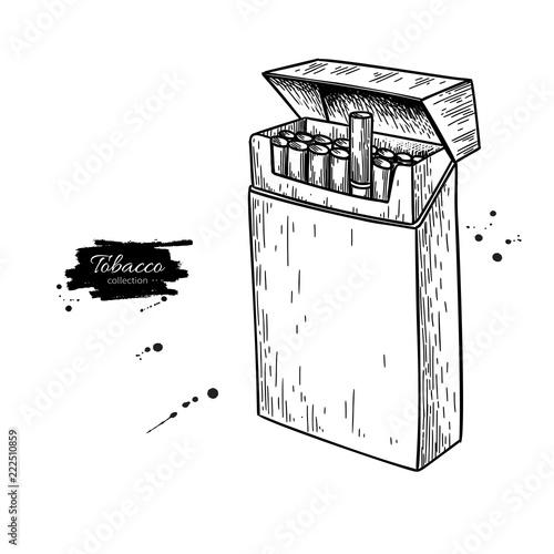 Cigarette Pack Vector Drawing Opened Box Sketch Smoking Elemen