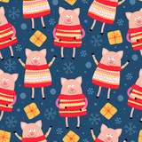 Seamless pattern with pigs. Symbol of the Year - 222513472