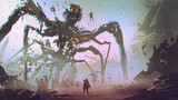 the man facing the giant spider robot, digital art style, illustration painting - 222519808