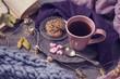 Leinwanddruck Bild - Pink cup of tea