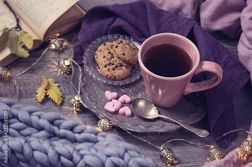 Leinwanddruck Bild Pink cup of tea