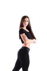 Woman in black sportswear surprised. © BestForYou
