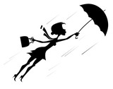 Windy day and woman with umbrella silhouette illustration. Young woman tries to hold an umbrella and a fancy bag gone with the strong wind silhouette black on white illustration  - 222534481