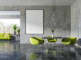 Concrete and wooden dining room, poster - 222537811