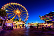 canvas print picture - Riesenrad Rummelplatz bei Nacht