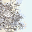 Illustration with beautiful vector hand drawn bouquet of flowers in basket