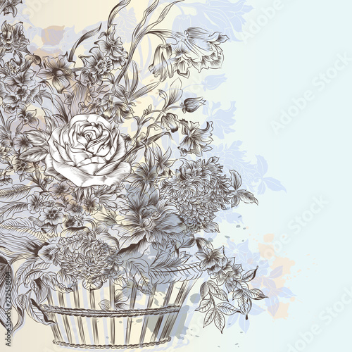Fototapeta Illustration with beautiful vector hand drawn bouquet of flowers in basket