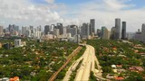Highway approach to Downtown Brickell and Miami establishing shot - 222558487
