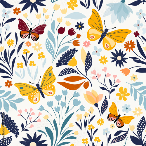 Seamless pattern with floral design and hand drawn elements - 222558880